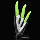 Chic Kitchen Ceramic Knife / Paring Knife / Chefs Knife Set w/ Knife Holder - Green (4 Pieces)