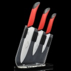 Chic Kitchen Ceramic Knife / Paring Knife / Chefs Knife Set w/ Knife Holder - Red + White (4 Pieces)
