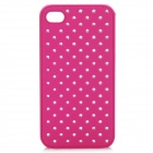 Stylish Rhinestone Protective PU Plastic Back Case for Iphone 4 / 4S - Deep Pink