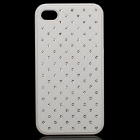 Stylish Rhinestone Protective PU Plastic Back Case for Iphone 4 / 4S - White