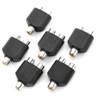 3.5mm 2-In 1-Out Female to Female Audio Adapter - Black (6-Piece Pack)