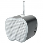 Mini USB Rechargeable Music Speaker w USB/TF Card/FM - Black