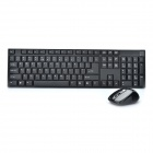 2.4GHz Wireless 104-Key Keyboard + Wireless Mouse Set - Black (1 x AA / 1 x AA)