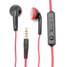 Kanen Earphone w/ Clip for iPhone 4 / 4S - Black + Red (3.5mm Jack)