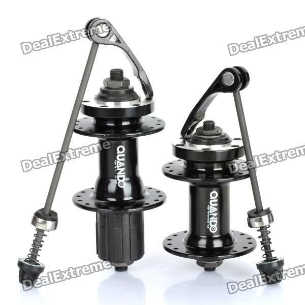 QUANDO 32H Sealed Bearing Hubs w/ Quick Release Skewers for Mountain Bike - Black (KT-MD4F / MD7R) mtb mountain road dh fr bmx fixed gear cycling bicycle bike pedal 9 16 in titanium axle alloy body 3 sealed bearing 100 95 17mm