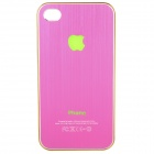 Flashing LED Logo Protective Aluminum Back Case for iPhone 4 / 4S - Deep Pink (1 x CR2016)