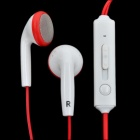 Kanen IP-509 Fashion Stereo Earphone with Microphone for Iphone - White + Red