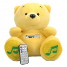 Cute Bear Plush Doll Style USB Powered MP3 Player Music Speaker with SD Slot - Yellow