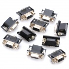 Female 15 Pin VGA Socket Connector - Black + Silver (10 Piece Pack)