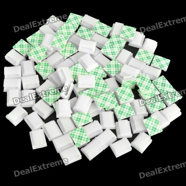 Cable Wire Clip Fixed Mount with Self-Adhesive Tape - White (100 Piece Pack)