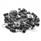 Copper Cable Wire Ring Terminal Connector - Black + Silver (8MM / 50 Piece Pack)