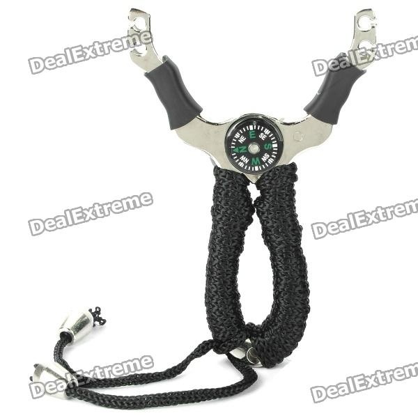 Durable Titanium Alloy Hunting Slingshot Catapult w/ Compass / 5 Balls