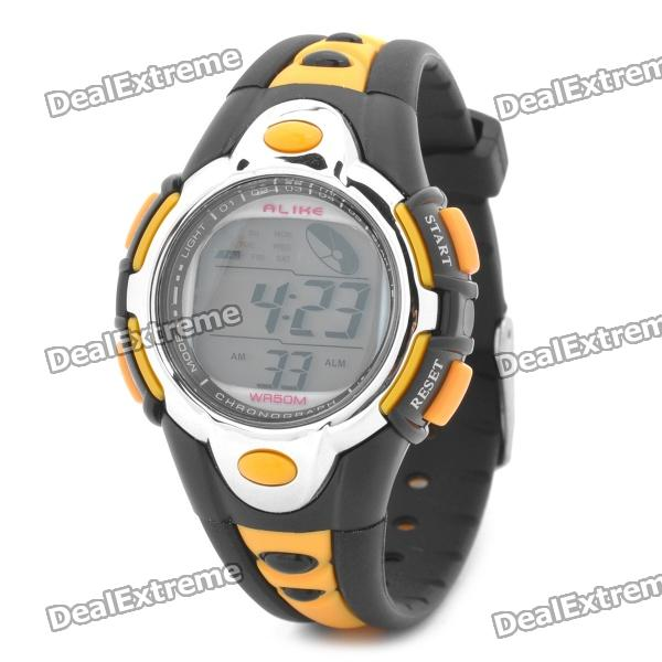 Sports Diving Wrist Watch w/ Colorful Backlit / Week / Stopwatch / Alarm Clock - Orange (1 x CR2025)