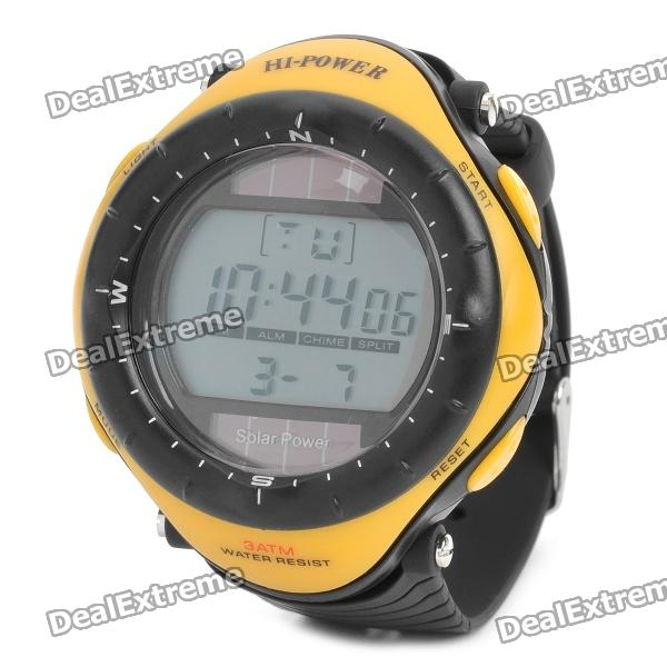 Sports Solar Power Diving Wrist Watch w/ EL Backlit / Week / Stopwatch / Alarm - Yellow (1 x CR2025)