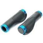 Cycling Grips Bicycle Bar End Handlebar - Pair (Black + Blue)