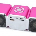 "1.5"" LCD Portable Rechargeable MP3 Music Speaker w/ FM / TF / USB / 3.5mm Audio Jack - Deep Pink"