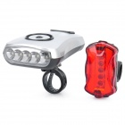 Fahrrad-5-LED weiße LED Head Light + 5-LED 3-Modus Red LED Rückleuchten-Set (3 x AA / 2 x AAA)