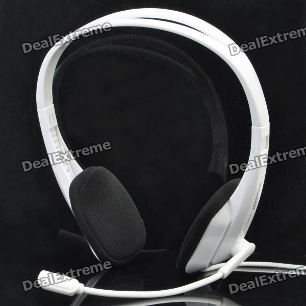 Stylish On-Ear Headset Headphone with Microphone - White (Dual 3.5mm Jacks / 180cm-Cable)