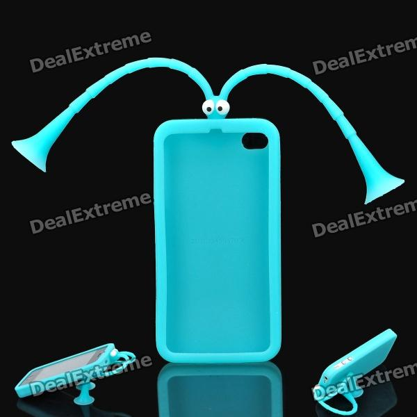 Cute Grasshopper Protective Silicone Back Case w/ Suction Cup Antennas for Iphone 4 / 4S - Blue h08 360 rotation 4 port suction cup holder w silicone back clip for iphone 4 4s 5 ipad mini ipod