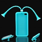 Cute Grasshopper Protective Silicone Back Case w/ Suction Cup Antennas for Iphone 4 / 4S - Blue