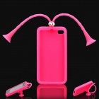 Cute Grasshopper Protective Silicone Back Case w/ Suction Cup Antennas for iPhone 4 / 4S - Deep Pink