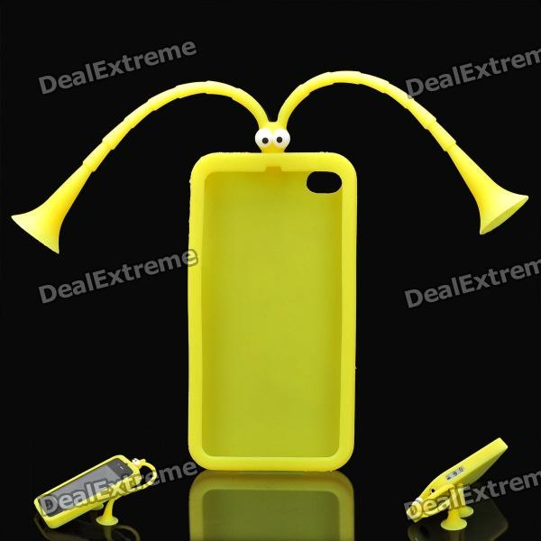 Cute Grasshopper Protective Silicone Back Case w/ Suction Cup Antennas for Iphone 4 / 4S - Yellow h08 360 rotation 4 port suction cup holder w silicone back clip for iphone 4 4s 5 ipad mini ipod