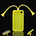 Cute Grasshopper Protective Silicone Back Case w/ Suction Cup Antennas for Iphone 4 / 4S - Yellow