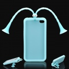 Cute Grasshopper Protective Silicone Back Case w/ Suction Cup Antennas for Iphone 4/4S - Light Blue