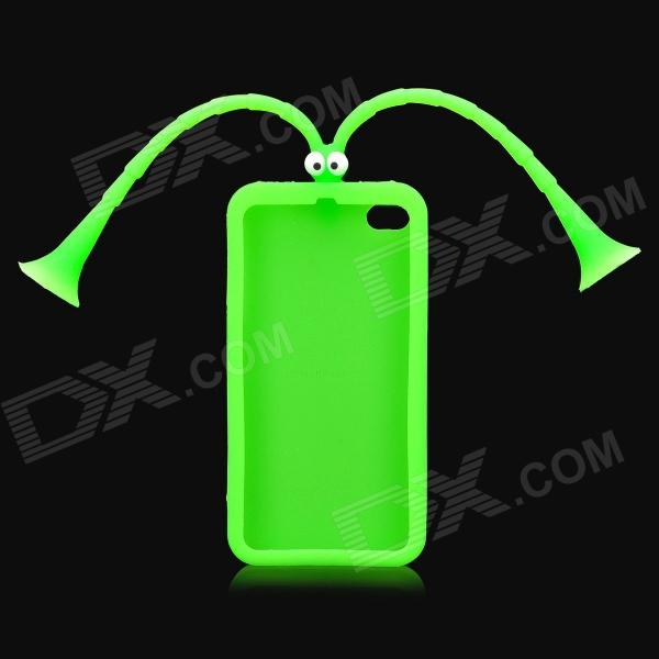Cute Grasshopper Protective Silicone Back Case w/ Suction Cup Antennas for Iphone 4 / 4S - Green h08 360 rotation 4 port suction cup holder w silicone back clip for iphone 4 4s 5 ipad mini ipod