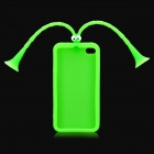 Cute Grasshopper Protective Silicone Back Case w/ Suction Cup Antennas for iPhone 4 / 4S - Green