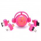 Folding Charger / Data Cable / TF Card Reader w/ 5 Charging Adapters for Cell Phone - Deep Pink