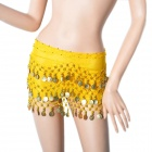 Golden Coins Pendant Belly Dance Hip Skirt Scarf - Yellow
