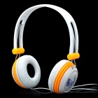 Stylish Headset Headphone w/ Microphone - White + Orange (3.5mm-Plug / 200cm-Cable)