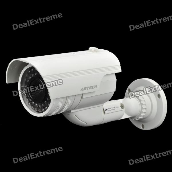 Realistic Dummy Surveillance Security Camera w/ Blinking Red LED Light - White (2 x AA)