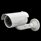 Fake Realistic Dummy Surveillance Security Camera w/ Blinking Red LED Light - White (2 x AAA)