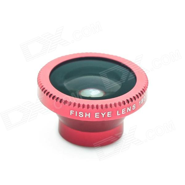 Detachable 180-Degree Wide Angle Fish Eye Lens for Cell Phones and Digital Cameras - Red + Black