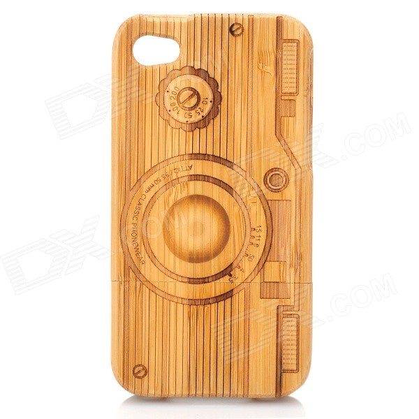 Camera Pattern Protective Bamboo Back Case for Iphone 4 / 4S
