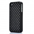 Stylish Rhinestone Protective PU Plastic Back Case for Iphone 4 / 4S - Black