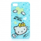 Cute Hello Kitty Pattern PC Back Case for iPhone 4 / 4S - Blue