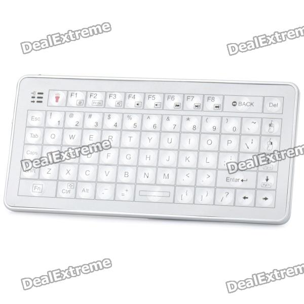 Mini Handheld Rechargeable 73-Key Bluetooth V2.0 Wireless Keyboard - Silver