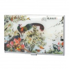 Classic Flower & Birds Image Pattern Stainless Steel Business Card Case