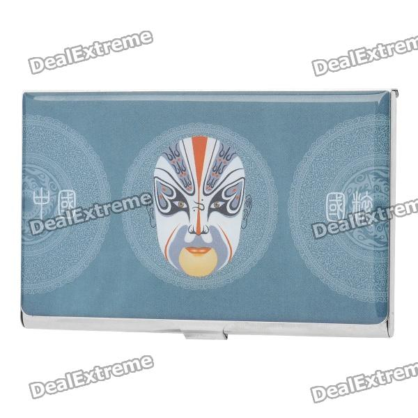Beijing Opera Image Pattern Stainless Steel Business Card Case - Light Blue performance evaluation of color image watermarking