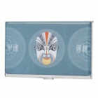 Beijing Opera Image Pattern Stainless Steel Business Card Case - Light Blue