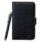 Protective Leather Wallet Case w/ ABS Holder / Stylus for Samsung Galaxy Note / i9220 - Black