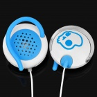 Cool Skull Pattern Ear-Hook Earphone w/ Replacement Shell - White + Blue (3.5mm-Plug)