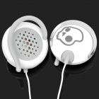 Cool Skull Pattern Ear-Hook Earphone w/ Replacement Shell - White + Black (3.5mm-Plug)