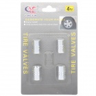 Car Tire Valve Caps - Silver (4-Piece Pack)