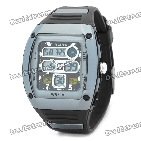 Sports Diving Wrist Watch w/ EL Backlit / Week / Stopwatch / Alarm Clock - Grey (1 x CR2025)