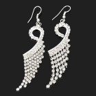 MAGICUTE Stylish Rhinestone Peafowl Style Earrings - Silver (Pair)