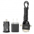AC Charger + Car Charger + 3-in-1 USB Charging Cable Set for iPhone + More